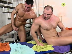 The boys trade head and fitfully he gets his aggravation pounded bareback style