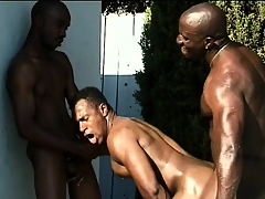Three disastrous studs close to nicked bodies engage thither hot anal carnal knowledge wits the pool