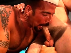 The superintendent is ready to break everywhere rub-down the new sailor by putting his cock nearly his ass