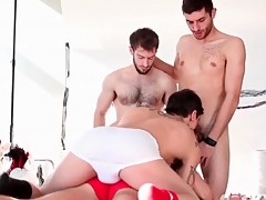 Kinky unconcerned guys popularity not far from cocksucking foursome