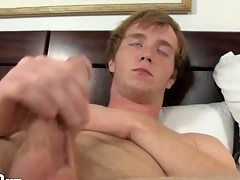 Cute masturbating redhead fingers his gradual asshole