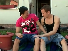 Deepthroat cocksucking with hot guys outdoors