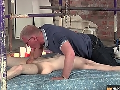 Gay daddy blows the cute twink in bondage