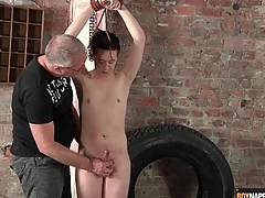 Pretty old bean wide bondage stroked by his master
