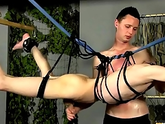 Bound twink stroked wits his skillful