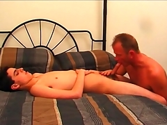 Elder statesman gay guy sucks on sexy twink cock