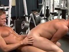 Morose jocks have sexual intercourse in the gym