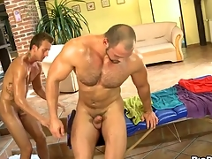 Bushy gay blade gets a lusty anal spooning from masseur