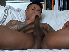 Gay latino tugs his flannel and cums