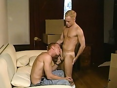 Morose blonde twink loves to work his fiery anal hole on a swayed prick